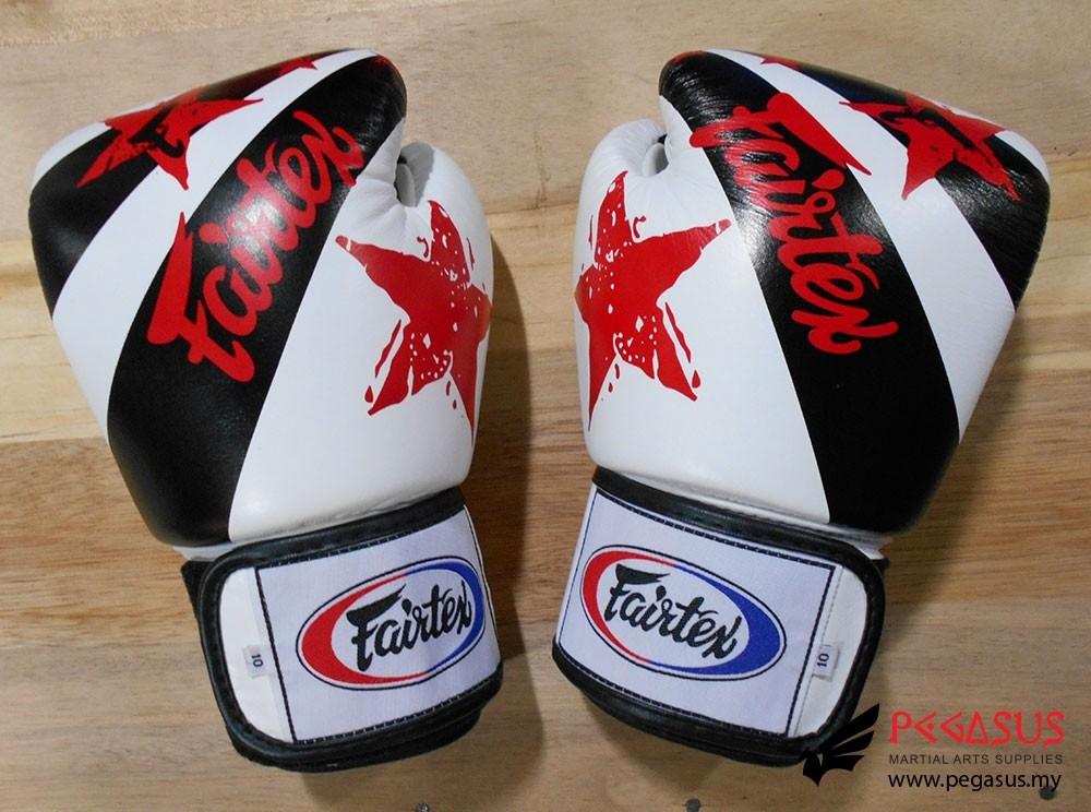 """Fairtex Muay Thai/Boxing Gloves  BGV1 """"Nation Prints"""" Collection. WHITE"""