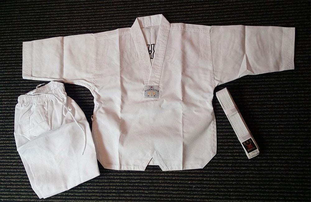 ORIENTAL White colar Taekwondo Uniform (Ribbed Cotton)