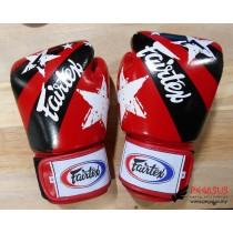 "Fairtex Muay Thai/Boxing Gloves  BGV1 ""Nation Prints"" Collection. RED"