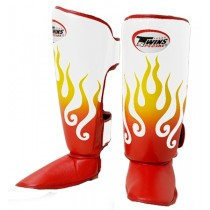 TWINS FIRE FLAME SHIN GUARDS - PREMIUM LEATHER