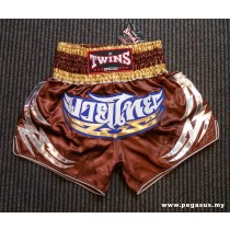 Twins Special Satin Muay Thai Shorts Brown