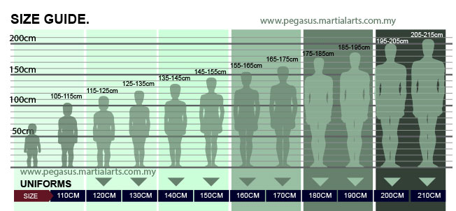 Size guide chart for apparel and uniforms
