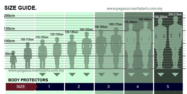 Size chart for body protector